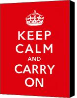 Store Digital Art Canvas Prints - Keep Calm And Carry On Canvas Print by War Is Hell Store