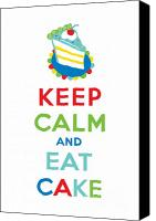 Keep Calm Canvas Prints - Keep Calm and Eat Cake  Canvas Print by Andi Bird