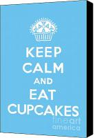 Ornamental Digital Art Canvas Prints - Keep Calm and Eat Cupcakes - blue Canvas Print by Andi Bird