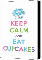 Cupcakes Digital Art Canvas Prints - Keep Calm and Eat Cupcakes - multi pastel Canvas Print by Andi Bird