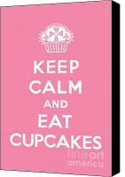 Drawing Canvas Prints - Keep Calm and Eat Cupcakes - pink Canvas Print by Andi Bird