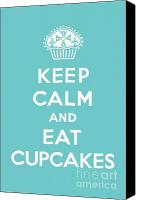 Cupcakes Digital Art Canvas Prints - Keep Calm and Eat Cupcakes - turquoise  Canvas Print by Andi Bird