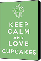 Cupcakes Digital Art Canvas Prints - Keep Calm and Love Cupcakes Canvas Print by Nomad Art And  Design