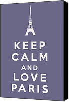 Keep Calm Canvas Prints - Keep Calm and Love Paris Canvas Print by Nomad Art And  Design