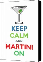 Keep Calm Canvas Prints - Keep Calm and Martini On Canvas Print by Andi Bird