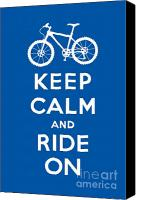 Keep Calm Canvas Prints - Keep Calm and Ride On - Mountain Bike - blue Canvas Print by Andi Bird