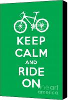 Keep Calm Canvas Prints - Keep Calm and Ride On - Mountain Bike - green Canvas Print by Andi Bird