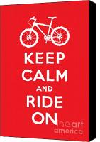 Keep Calm Canvas Prints - Keep Calm and Ride On - Mountain Bike - red Canvas Print by Andi Bird