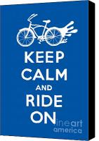 Biking Canvas Prints - Keep Calm and Ride On Cruiser - blue Canvas Print by Andi Bird