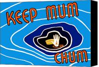 United States Mixed Media Canvas Prints - Keep Mum Chum Canvas Print by War Is Hell Store