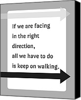 Inspirational Saying Canvas Prints - Keep On Walking Canvas Print by Marianne Beukema