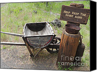 Wheelbarrow Mixed Media Canvas Prints - Keep the Spirit Alive - Good Old Times Canvas Print by Photography Moments - Sandi
