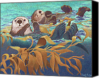 Animal Pastels Canvas Prints - Keepers of the Kelp Canvas Print by Tracy L Teeter