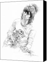 Paul Drawings Canvas Prints - Keith Richards Exile Canvas Print by David Lloyd Glover