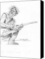 Most Liked Canvas Prints - Keith Richards  Fender Telecaster Canvas Print by David Lloyd Glover