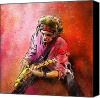 Guitar Hero Canvas Prints - Keith Richards Canvas Print by Miki De Goodaboom