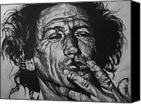Black Drawings Canvas Prints - Keith Richards Canvas Print by Steve Hunter