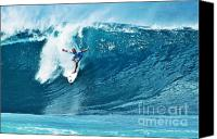Kelly Slater Canvas Prints - Kelly Slater at Pipeline Masters Contest Canvas Print by Paul Topp