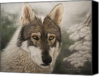 Wolf Pastels Canvas Prints - Keme Canvas Print by Teresa LeClerc