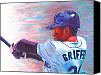 Major League Baseball Painting Canvas Prints - Ken Griffey Jr Canvas Print by Jeff Gomez