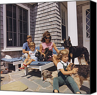 First Family Canvas Prints - Kennedy Family And Their Many Dogs Canvas Print by Everett