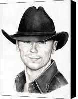 Singer Drawings Canvas Prints - Kenny Chesney Canvas Print by Murphy Elliott