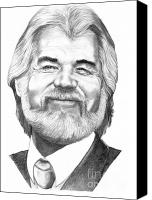 Famous Drawings Canvas Prints - Kenny Rogers Canvas Print by Murphy Elliott