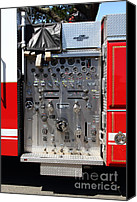 Fire Fighter Canvas Prints - Kensington Fire District Fire Engine Control Panel . 7D15856 Canvas Print by Wingsdomain Art and Photography