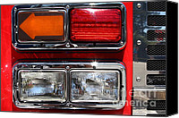 Fire Fighter Canvas Prints - Kensington Fire District Fire Engine Light Cluster . 7D15882 Canvas Print by Wingsdomain Art and Photography