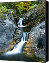 Autumn Scenes Canvas Prints - Kent Falls Double Cascades-autumn Canvas Print by Thomas Schoeller