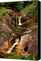 Moving Canvas Prints - Kent Falls Double Cascades Canvas Print by Thomas Schoeller