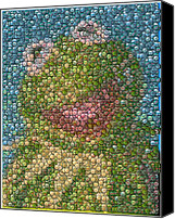 Bottle Caps Canvas Prints - Kermit Mt. Dew Bottle Cap Mosaic Canvas Print by Paul Van Scott