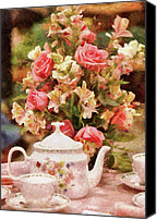 Tea Party Photo Canvas Prints - Kettle - More tea Milady  Canvas Print by Mike Savad