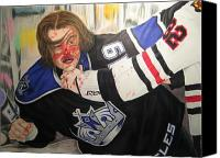 Sports Drawings Canvas Prints - Kevin Westgarth and John Scott Canvas Print by Brian Schuster