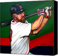 Baseball Painting Canvas Prints - Kevin Youkilis Canvas Print by Dave Olsen