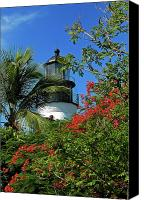 Florida Flowers Canvas Prints - Key West Lighthouse Canvas Print by Frank Mari