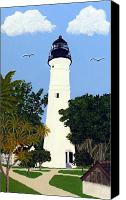 Lighthouse Canvas Prints - Key West Lighthouse Painting Canvas Print by Frederic Kohli