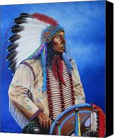 Indian Portrait. Native American.southwest. Canvas Prints - Kicks Iron Canvas Print by Howard Searchfield