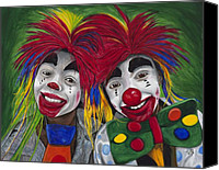 Giggling Canvas Prints - Kid Clowns Canvas Print by Patty Vicknair
