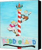 Pencil Drawing Canvas Prints - Kiddie Land Canvas Print by Glenda Zuckerman