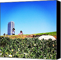 Children Photo Canvas Prints - #kids #children #girls #sky #grass Canvas Print by Alon Ben Levy