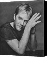 Celebrities Pastels Canvas Prints - Kiefer Sutherland Canvas Print by Iliyan Bozhanov