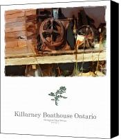Ontario Mixed Media Canvas Prints - Killarney  Ontario Boathouse Poster Series Canvas Print by Bob Salo