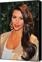 Gold Earrings Photo Canvas Prints - Kim Kardashian At Arrivals For Qvc Red Canvas Print by Everett