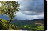 Grey Clouds Canvas Prints - Kinder Scout view Peak District Canvas Print by Lesley Carley