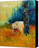 Alaska Canvas Prints - Kindred Spirits - Kermode Spirit Bear Canvas Print by Marion Rose