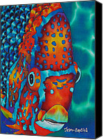 Silk Postcard Tapestries - Textiles Canvas Prints - King Angelfish Canvas Print by Daniel Jean-Baptiste