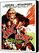 Horror Fantasy Movies Canvas Prints - King Kong, French Poster Art, 1933 Canvas Print by Everett