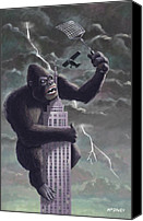 Illustration Canvas Prints - King Kong Plane Swatter Canvas Print by Martin Davey