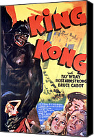 Horror Fantasy Movies Canvas Prints - King Kong, Poster Art, 1933 Canvas Print by Everett